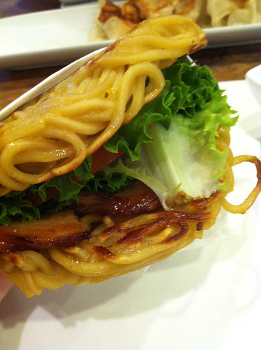 Ramen burger closeup