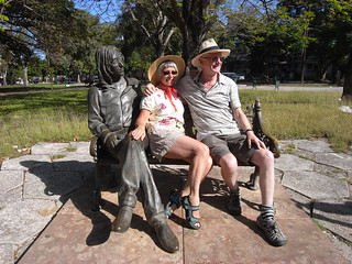 Anne and Mick at John Lennon statue