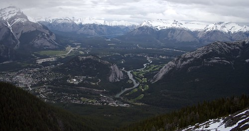 Banff Gondola - View of the Town of Banff, Tunnel Mountain and the Canadian Rockies