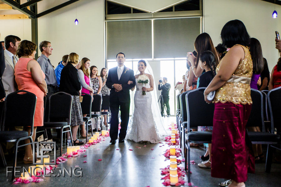 Cambodian bride and father walk down the aisle