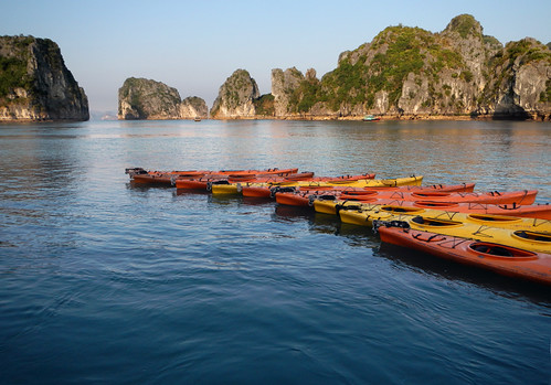 Halong Bay, Kayaks Set Out for Our Evening Cruise