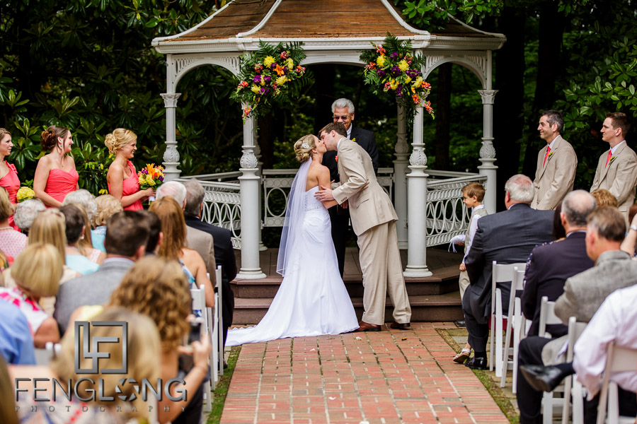 Bride and groom kiss and end of wedding ceremony