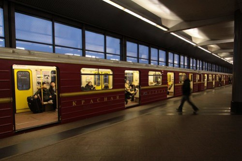 Special 'Red Arrow - 75 years' livery on a Moscow Metro train