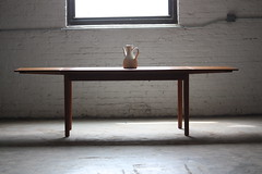 Eye Catching Danish Mid Century Modern Teak Expandable Dining Table (Denmark, 1960's)