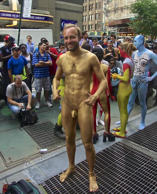 naturist 0004 body paint art, Times Square, New York, NY, USA