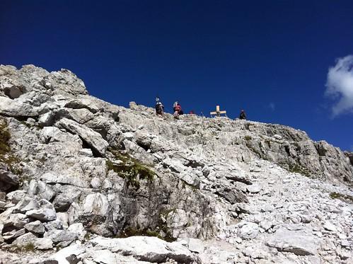 Die letzten Meter zum Gipfel des Paternkofel 2.744 m
