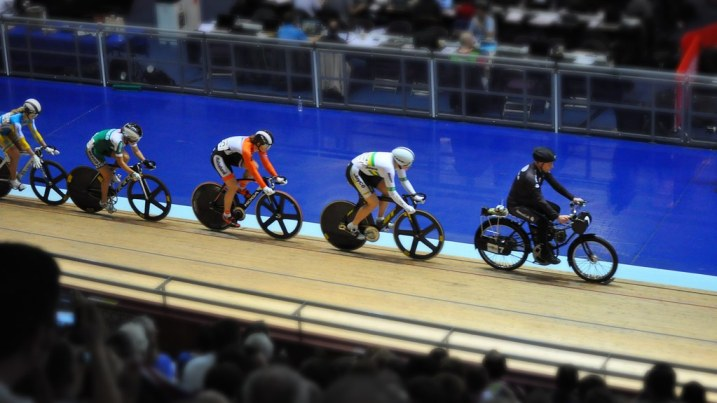 Pete the Dernyman at Manchester Velodrome