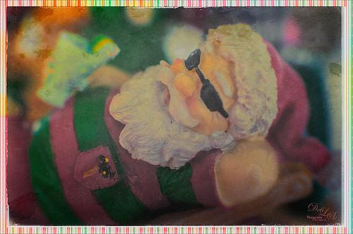 Image of Santa at the Beach using a Light Leak
