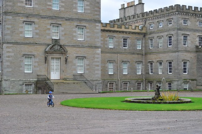 Our youngest loved cycling in front of Mellerstain House during our family cycling holiday in the Scottish Borders