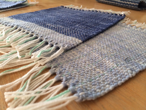 I realized I never showed these. My very first weaving project...