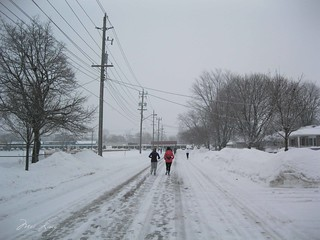 One of the side streets we ran down (covered in snow).