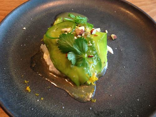 Avocado, sushi rice, salt cod cream, lime, cilantro