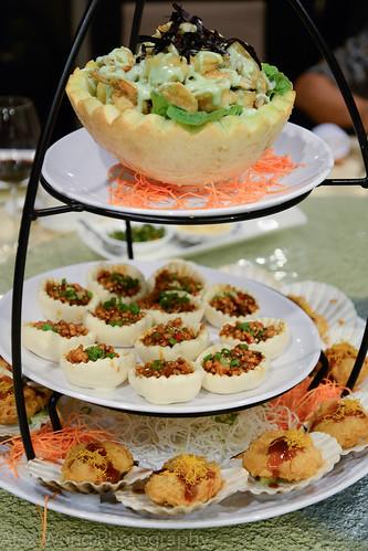 Shrimp in Wasabi Sauce, Scallop Tempura, Chicken Mushroom Bao