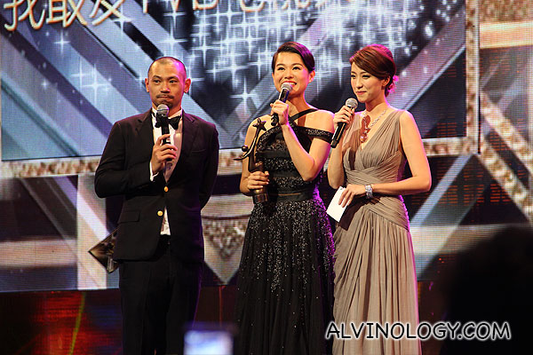 Myolie Wu collecting her award