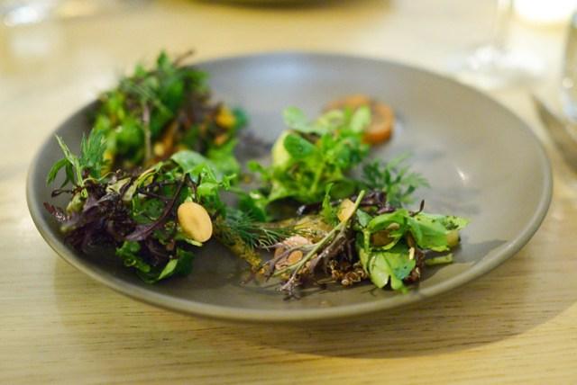 carrots roasted over seaweed, avocado, quinoa, purslane, carrot top pesto