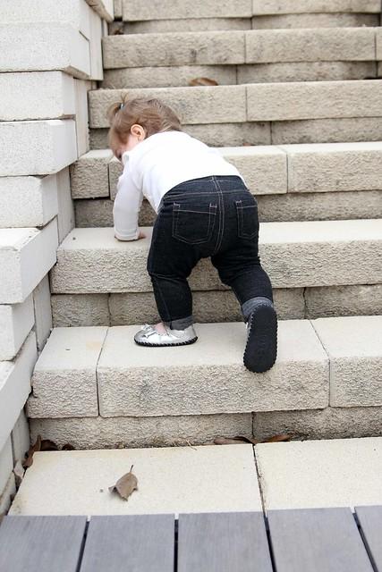 Harper climbing stairs