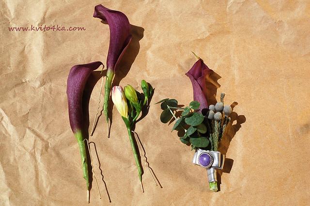 Бутоньерка и цветы в прическу - каллы