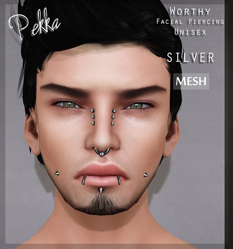 pekka worthy facial piercing SILVER mesh