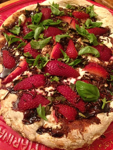 Strawberry balsamic glaze ricotta basil dessert pizza #pizzaparty #Sharkado
