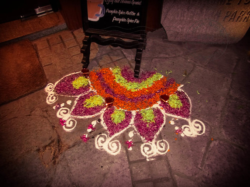 Rangoli Outside Starbucks!  Enjoying the local beverage :)