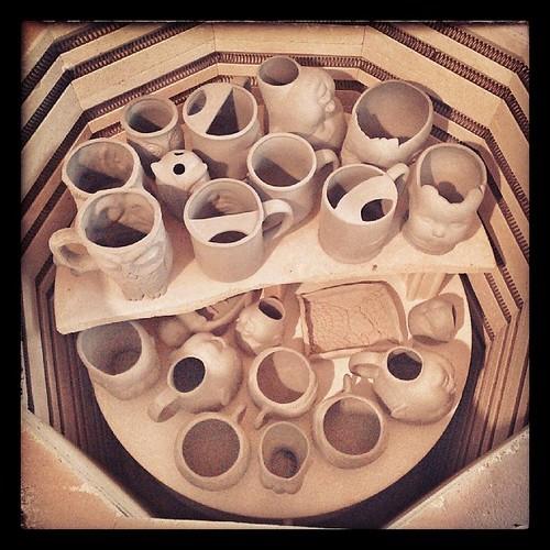 Loaded, again. #ceramics #kiln #greenware
