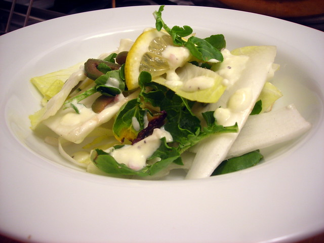 Endive salad, with Castelvetrano olives and Meyer lemon cream