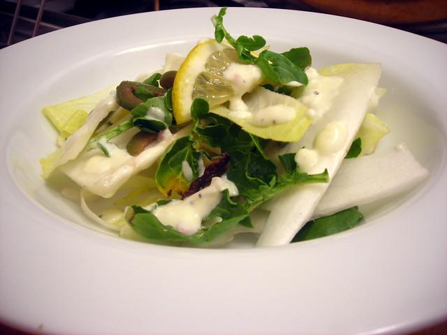 Endive salad, with Castelvetrano olives and Meyer lemon cream