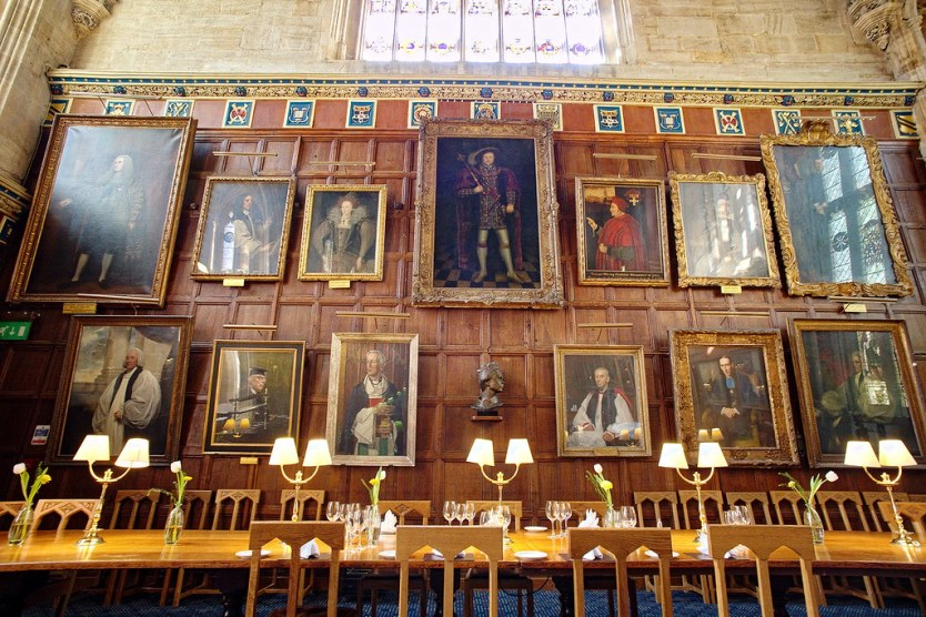 Wall of portraits inside the Christ Church College Dining Hall.
