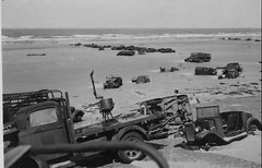 Abandoned British vehicles on the beach at Dunkirk 26th June 1940.
