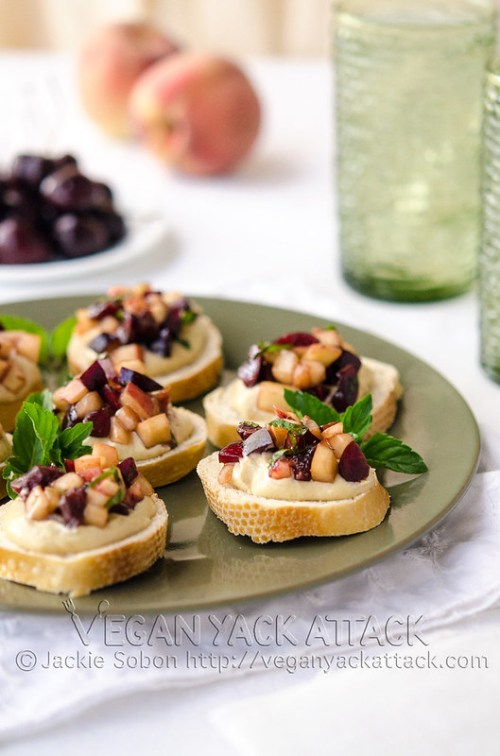 Summery, sweet, Stone Fruit Bruschetta Orange Cream Crostinis that are great for any get-together, big or small!