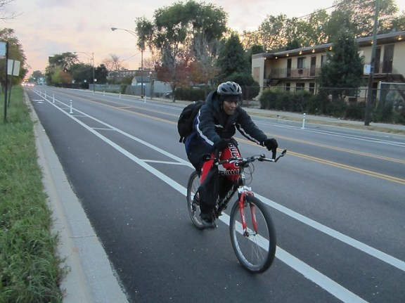 bicyclist on Vincennes Avenue in Chicago