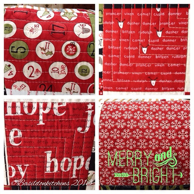 Dec 1 - red {the fun fabrics in my homemade Christmas pillows} #fmsphotoaday #Christmas #pillows #craft #quilt #handmade #holidays #red