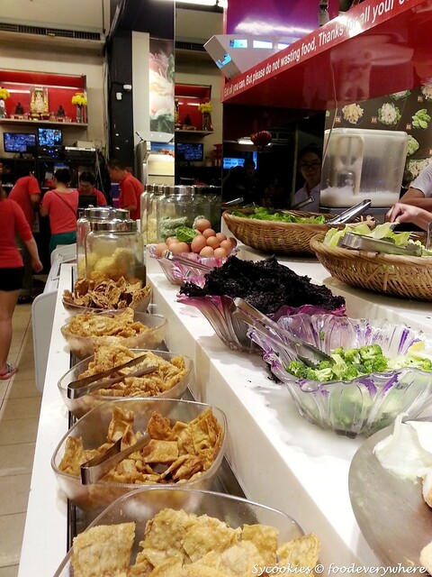 3.vegetables,fried fu chok eggs, dry sections..
