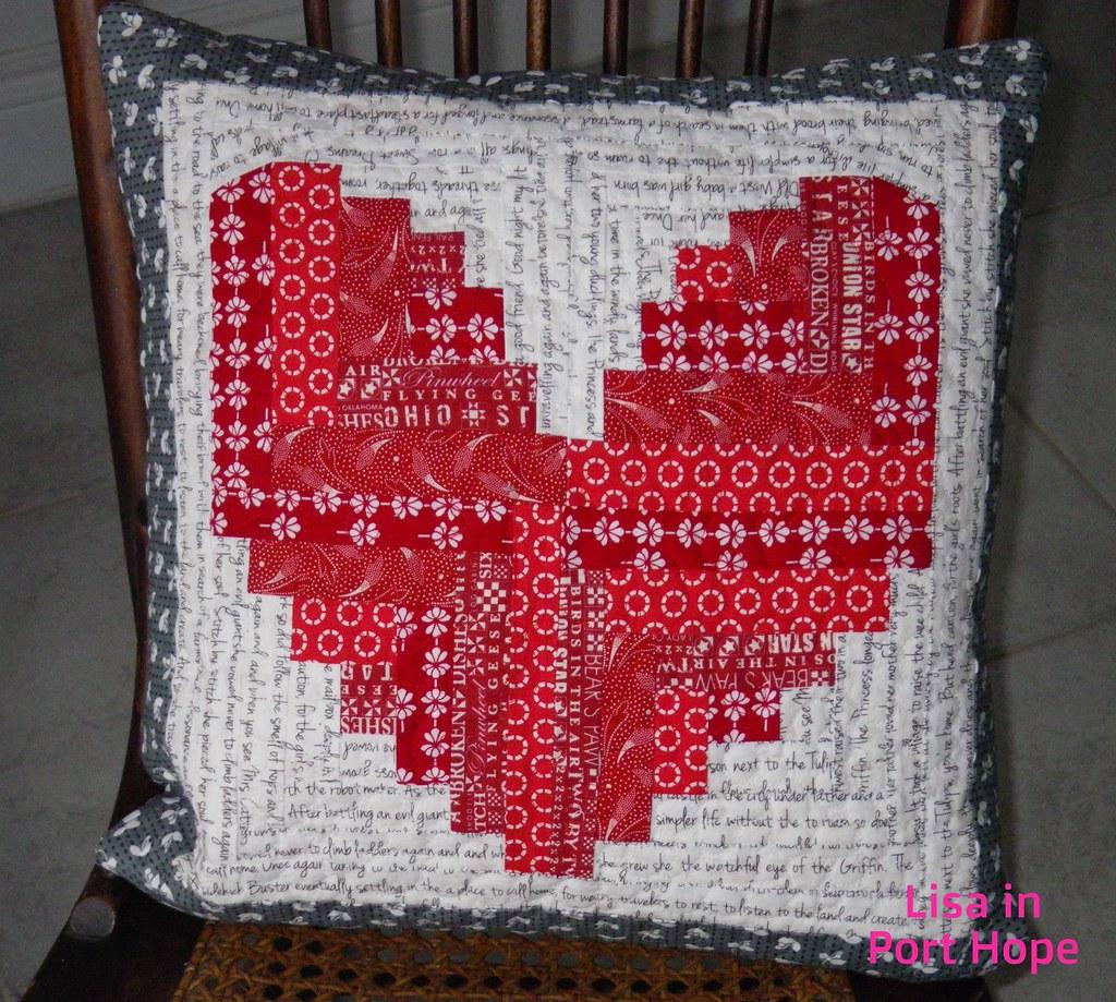 log cabin love pillow
