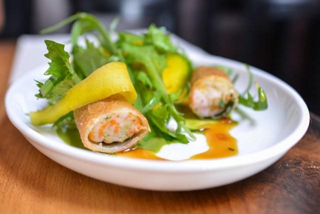 shrimp & rabbit sausage spring roll, mizuna, green curry