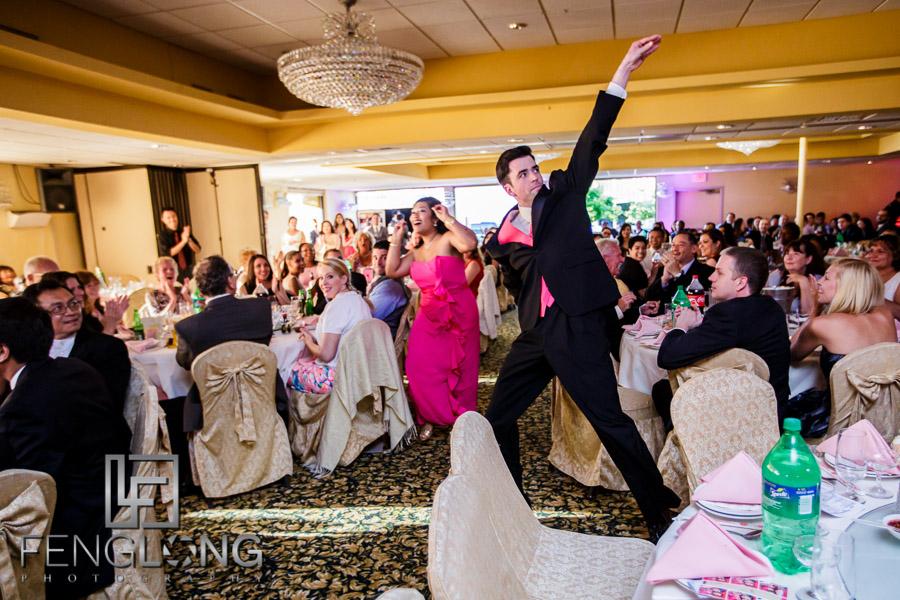 Bridesmaids and groomsmen make entrance