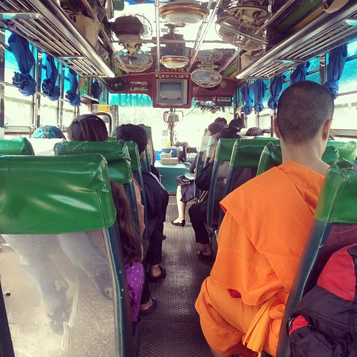 On the bus to the Burmese border! Heading to Mae Sai to extend our visas.