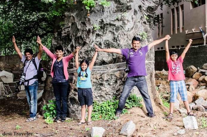 kids standing with baobab tree nanakramguda hyderabad