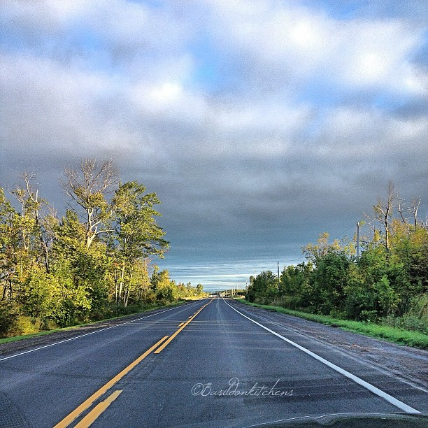 Sep 3 - lines {lines on the highway; my view to & from work daily} #fmsphotoaday #lines #highway #countryroads #princeedwardcounty #morning #clouds