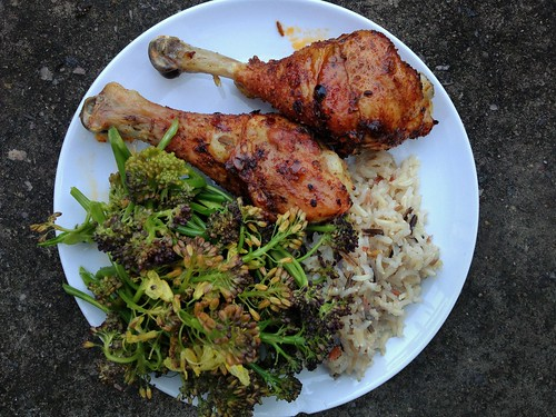 Peri-Peri Chicken + Steamed Purple Sprouting Broccoli + Wild Rice