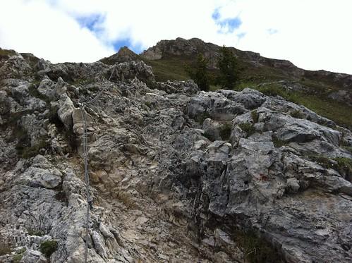 Aufstieg Sarlkofel Drahtseil-gesicherte Stelle