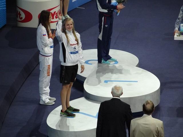 Ruta Meilutyte on the BCN2013 podium