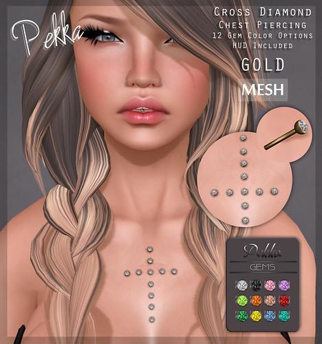 pekka cross diamond chest piercing gold