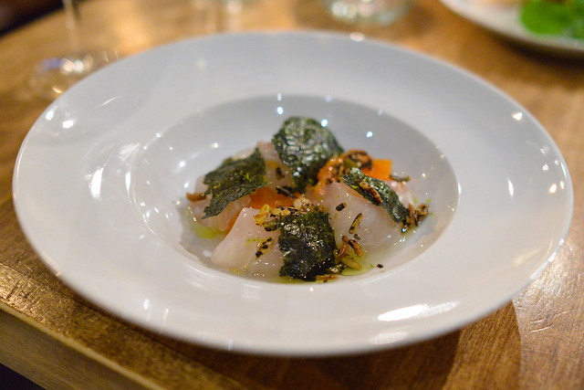 sea bream lightly cured with persimmon, savory granola (manresa)