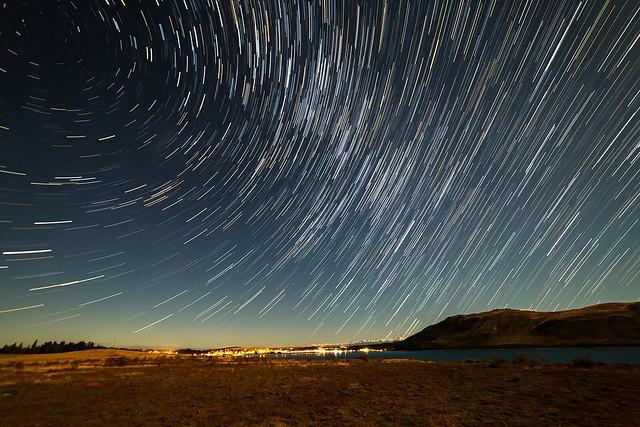 Star trails over Tekapo village