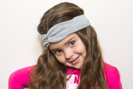 Annabel models the DIY Turban Headband