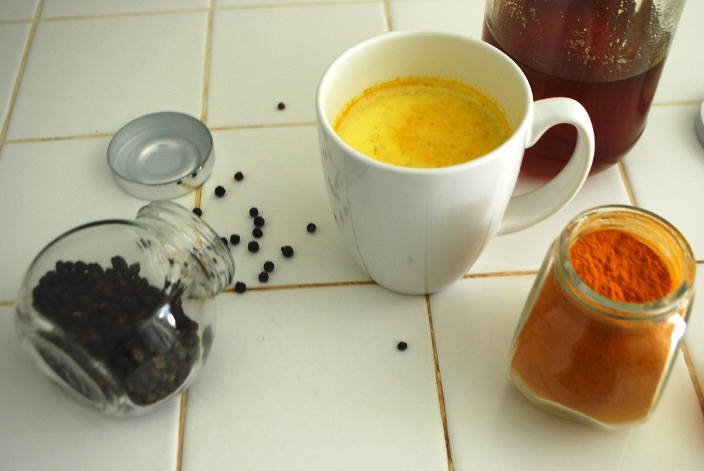 hot milk + turmeric + black pepper + honey