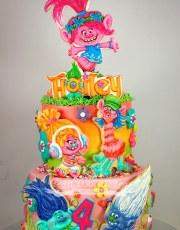 Trolls Poppy and friends cake