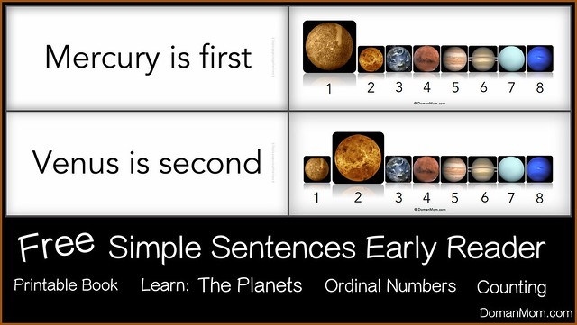 Free Early Reader Simple Sentences Planet Book