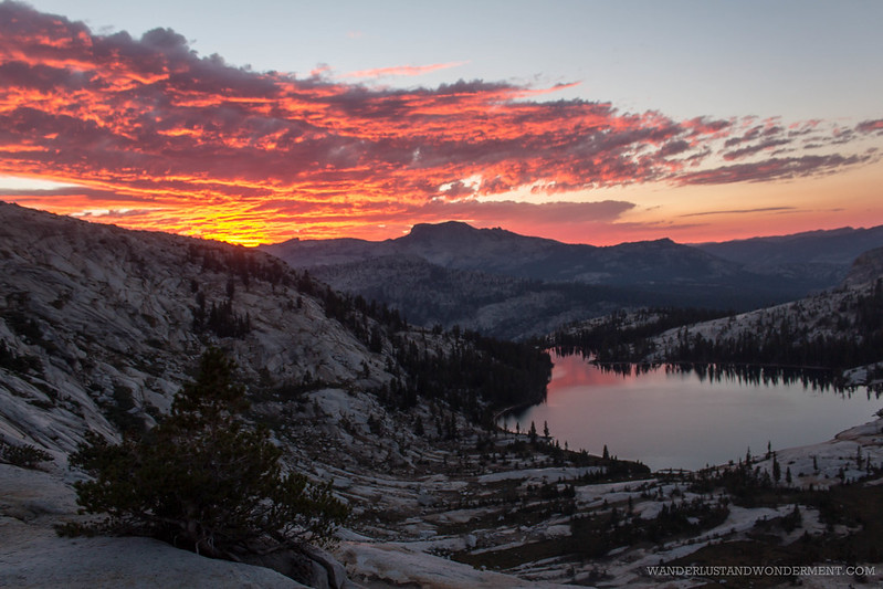 Sunset on fire over Cathedral lake